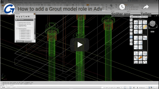 How to add a grout model avance steel video
