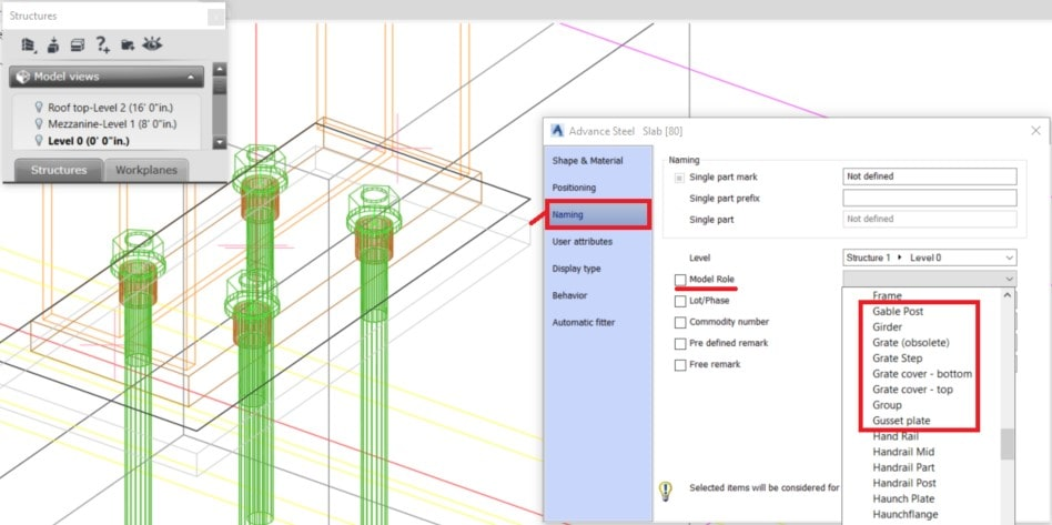 How to add a grout model role to a concrete element in advance Steel pict1 1