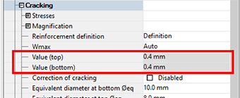 Maximum crack width values definition